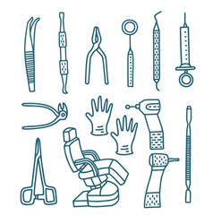 Isolated dental instruments set in doodle style vector