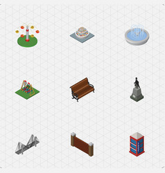 Isometric city set of plants seesaw sitting and vector