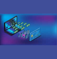 isometric raptop internet banking and credit card vector image
