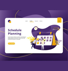 landing page schedule planning modern style vector image