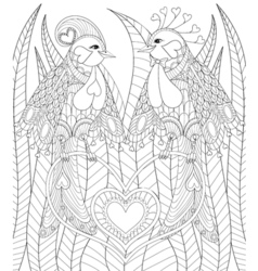 lovely couple exotic bird sitting on heart in vector image