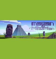 mayan civilization landmarks and moai statues vector image