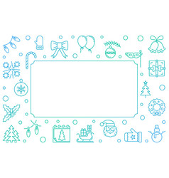 merry christmas blue frame in thin line vector image