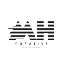 mh m h zebra letter logo design with black and vector image