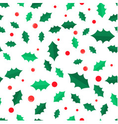 Mistletoe tree with red balls seamless pattern vector