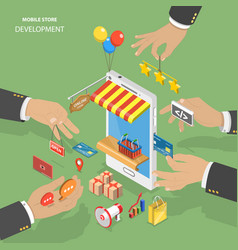 Mobile store development flat isometric low poly vector