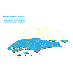 Modern of singapore map connections network vector