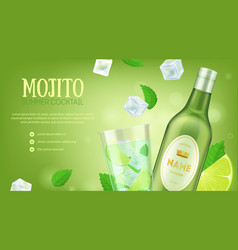 mojito summer cocktail ad concept card background vector image