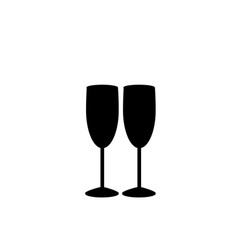 Monochrome of two champaign glasses vector