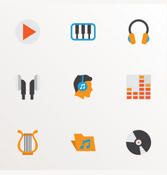 music icons flat style set with begin archive vector image