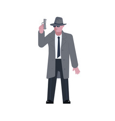 Mysterious man with a pistol vector