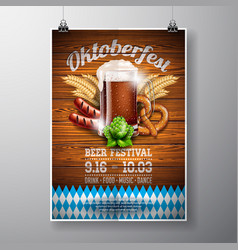 oktoberfest poster with fresh dark beer on wood vector image