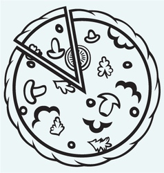 Pizza Top view vector