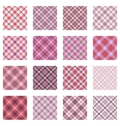 Plaid patterns collection pink shades vector