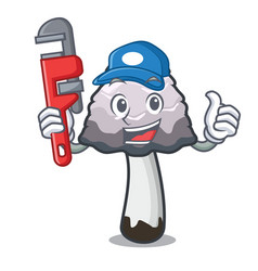 Plumber shaggy mane mushroom mascot cartoon vector