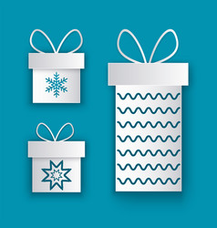 present packages decorated by bow new year icons vector image