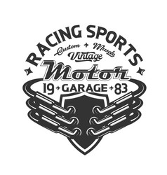 racing car exhaust pipe t-shirt print motorsport vector image
