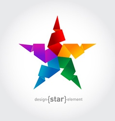 Rainbow Origami Star on white background vector image