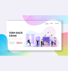 Robbery or theft landing page template masked vector
