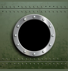 round window porthole on green metal background vector image