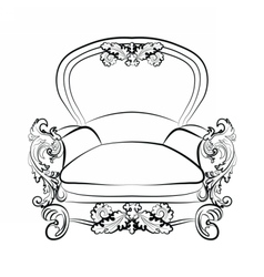 Royal imperial armchair in rococo style vector