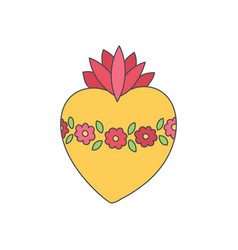 Sacred heart of mary doodle icon vector