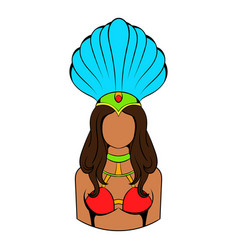 samba girl icon cartoon vector image