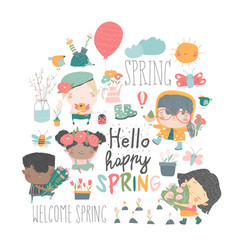 set cartoon children and spring elements vector image