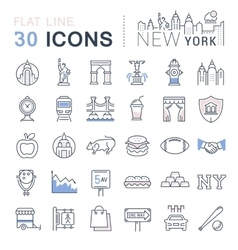 Set Flat Line Icons New York and USA vector