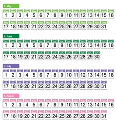 Set of four months may june july august vector