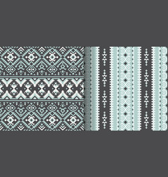 Set of seamless ethnic patterns geometric design vector