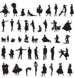 Set retro silhouettes people vector