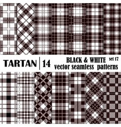 Set tartan seamless pattern in black and white vector