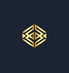 shape square line geometry gold logo vector image
