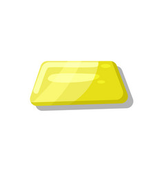 shiny yellow button for game menu interface vector image