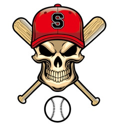 skull wear a baseball hat vector image