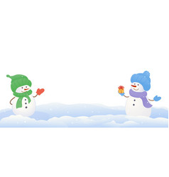 Snowmen on white background vector