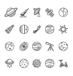 space exploration icons set in line style vector image