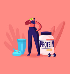 Sportswoman character drink protein cocktail from vector