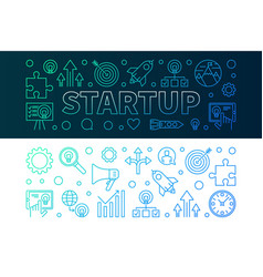 startup creative horizontal banners set in line vector image