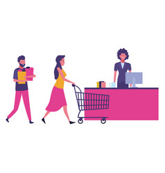 Supermarket cash and customers with shopping cart vector