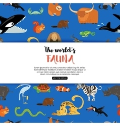 The worlds fauna wild animals eps 10 vector