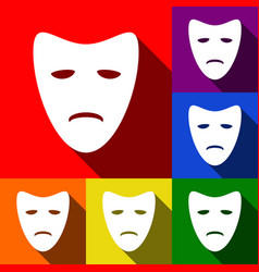 tragedy theatrical masks set of icons vector image