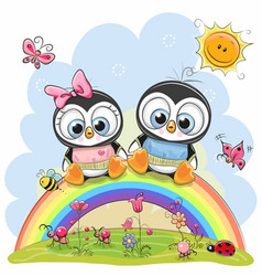 two penguins are sitting on the rainbow vector image