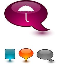 Umbrella speech comic icons vector