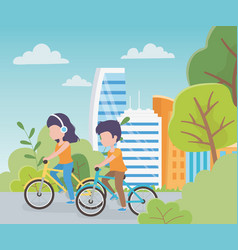 urban ecology girl with earphones and boy riding vector image