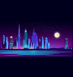 urban landscape with neon skyscrapers vector image
