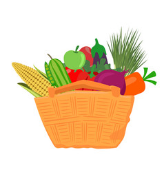 Vegetables and fruits in brown wicker basket vector