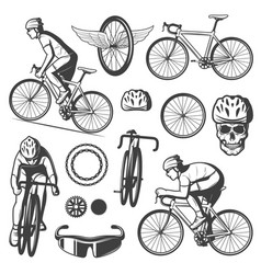vintage cycling elements collection vector image