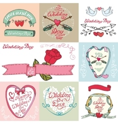 Wedding cardslabelsCute doodle decor vector image